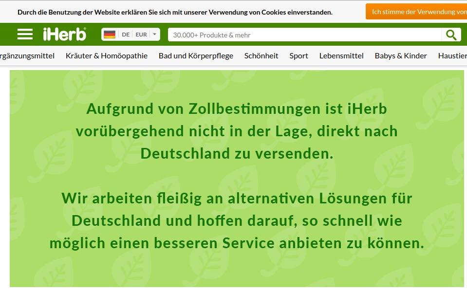 iHerb: Kein Versand mehr nach Deutschland 2