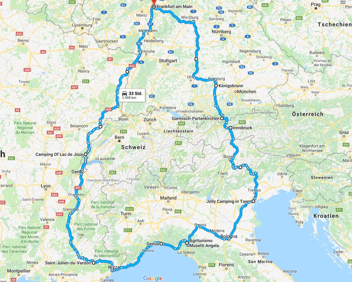 3 Wochen Camping Urlaub in Frankreich, Italien und der Schweiz. 2