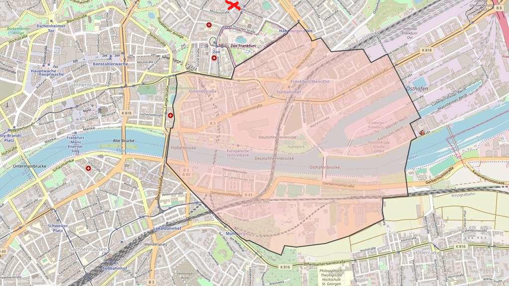 Evakuierungszone bei der Bombenentschärfung in Frankfurt