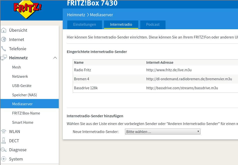 Fritz!Box Internet Radio