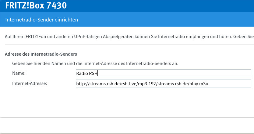 Radio RSH Internet Stream Adresse