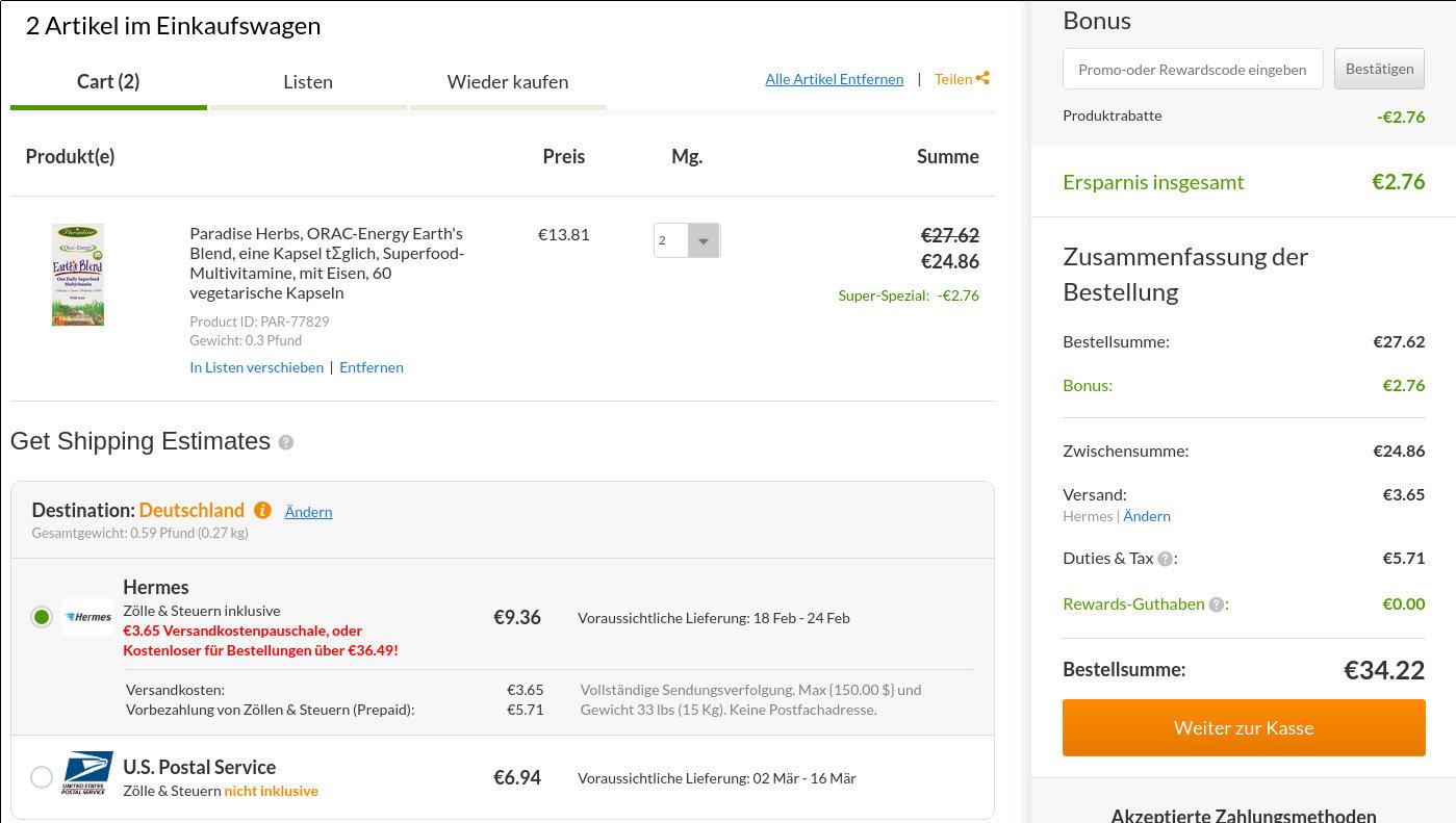 iHerb Bestellung über 22 Euro