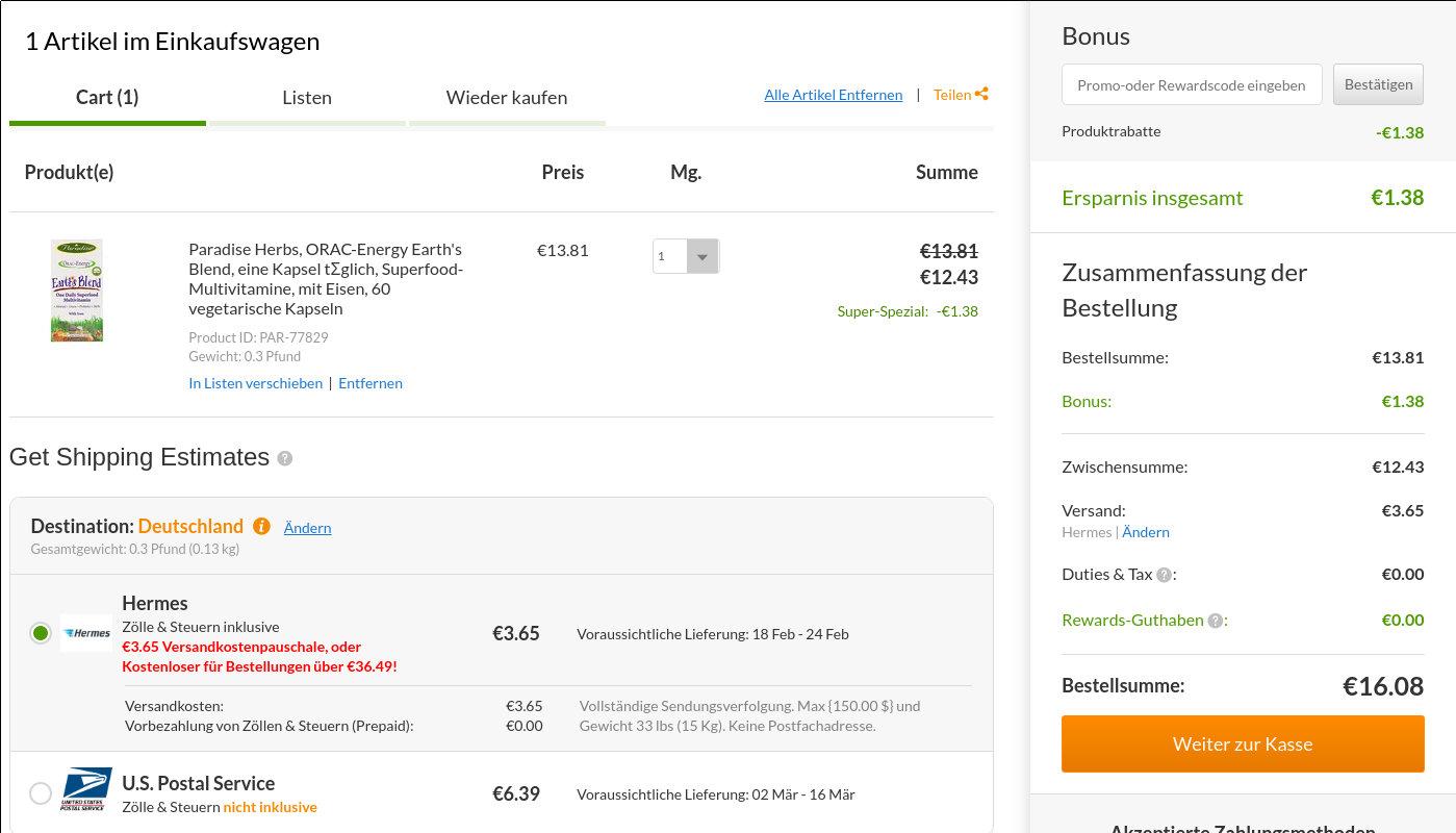 iHerb Bestellung unter 22 Euro