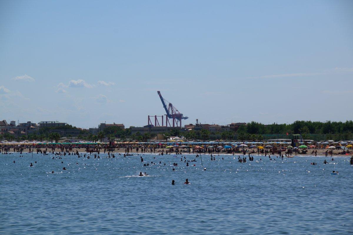 Beach and Industrial Area in Chioggia Venice, Italy