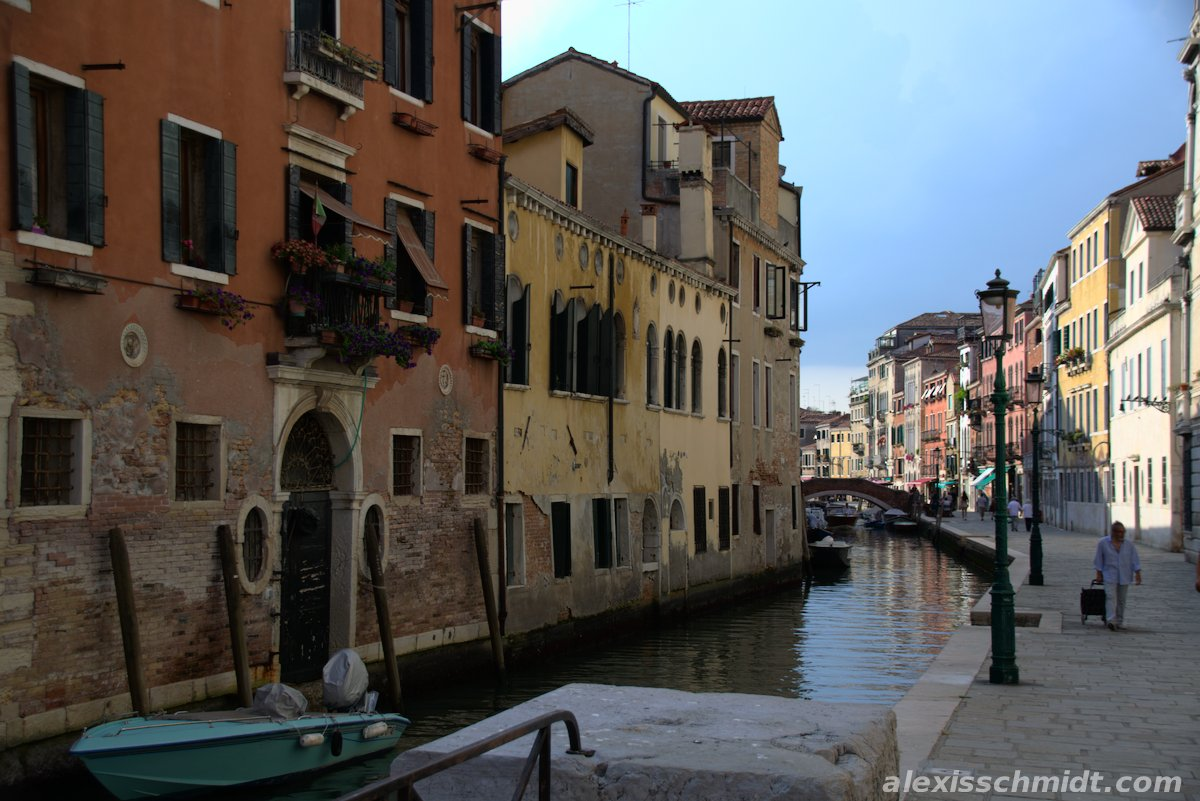 Old Houses and Canal in Venice, Italy
