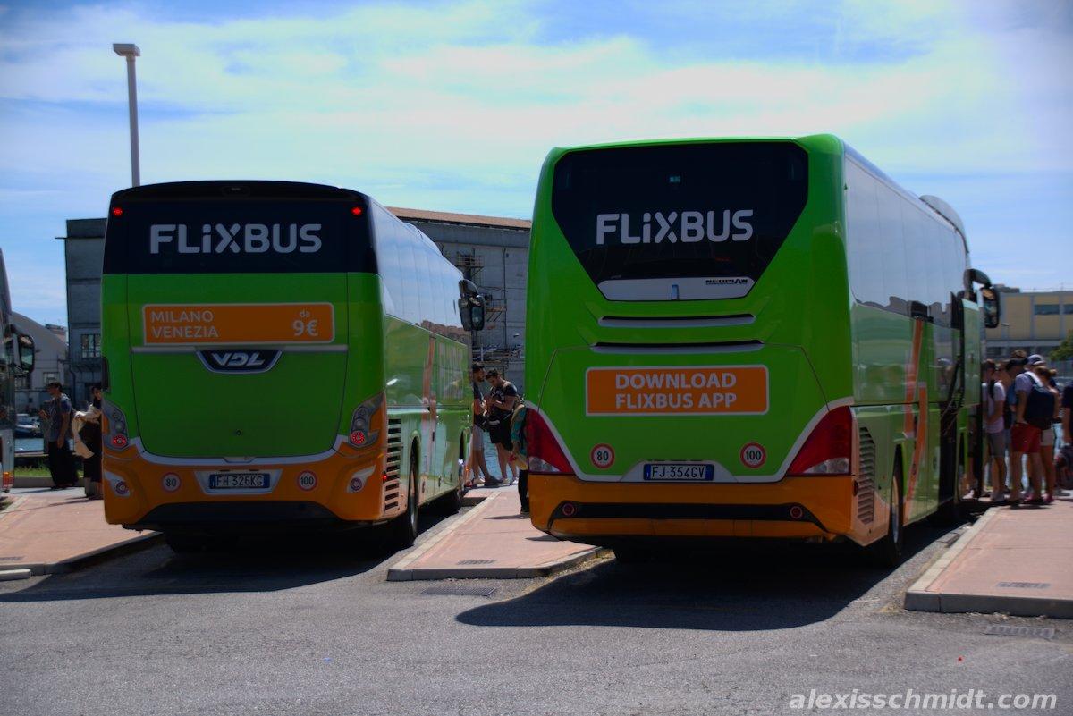 Flixbusses in Venice, Italy