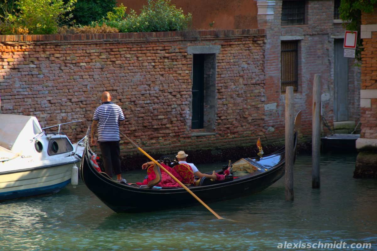 Tourists in a Gondola in Venice, Italy