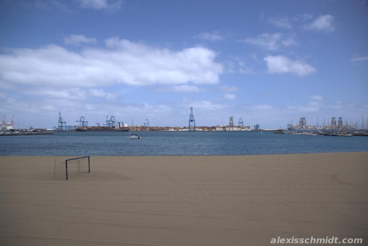 Oil Rigs in front of Beach in Las Palmas, Gran Canaria
