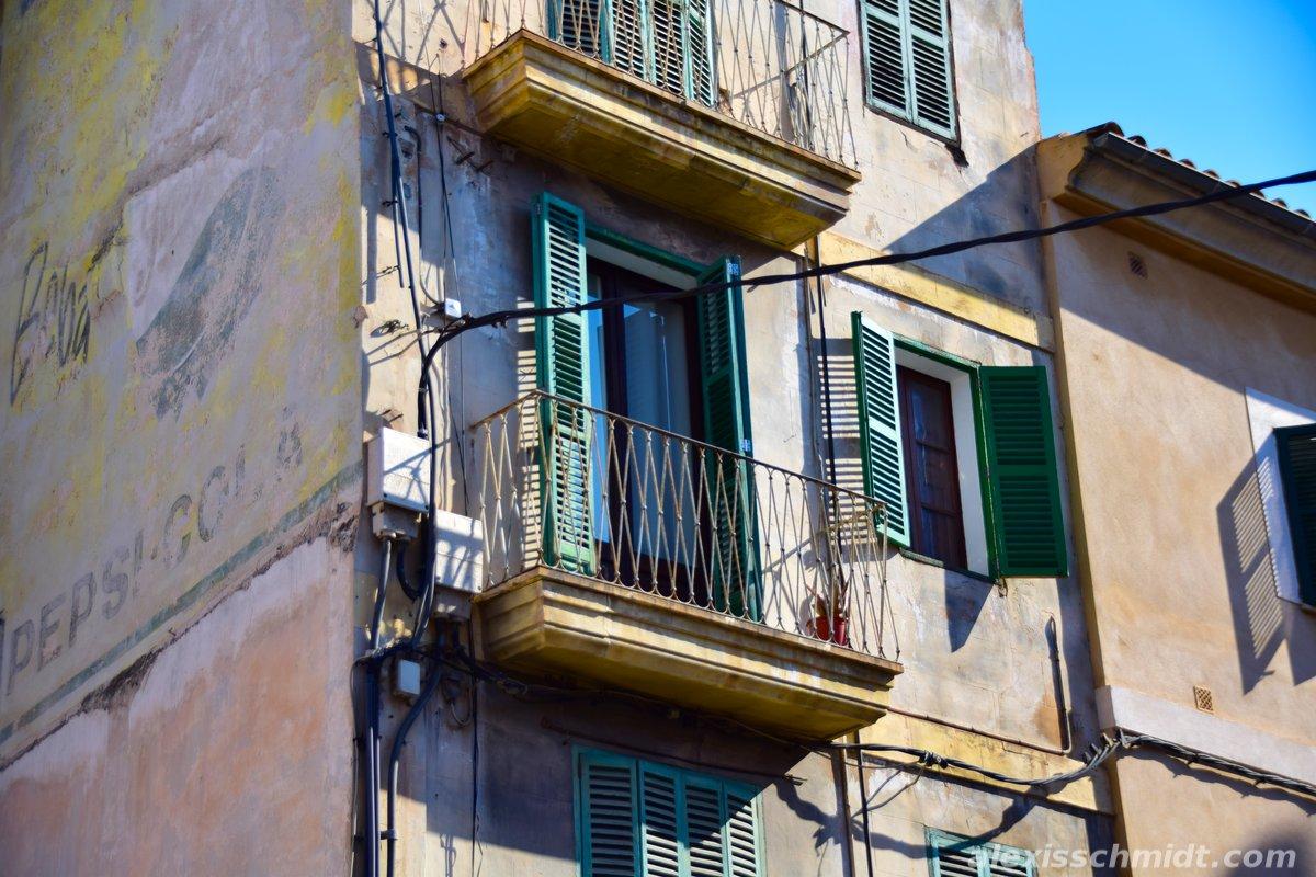 Old House with Balcony in Palma de Mallorca, Spain
