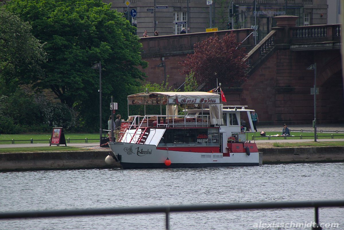 Meral Imbiss Boat on the Main River in Frankfurt, Germany