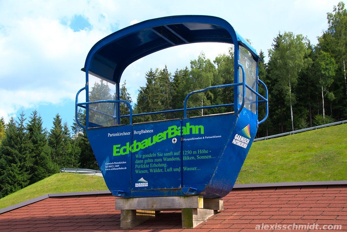 Cabin of the Eckbauerbahn cable car in Garmisch-Partenkirchen, Germany