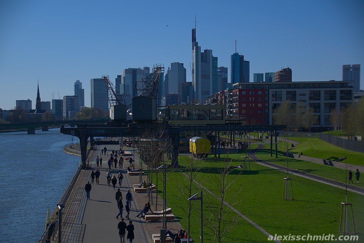 Skyline and Restaurant Oosten in Frankfurt, Germany