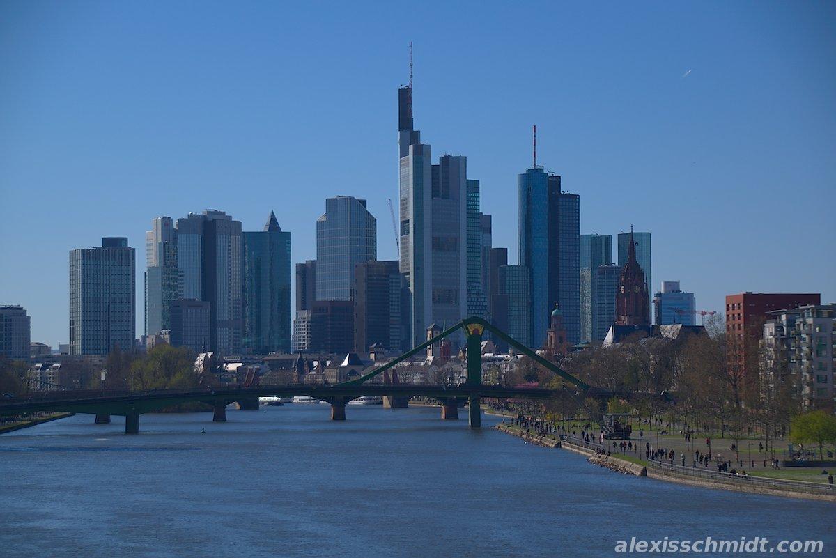 Skyline of Frankfurt, Germany from Deutschherrnbrücke