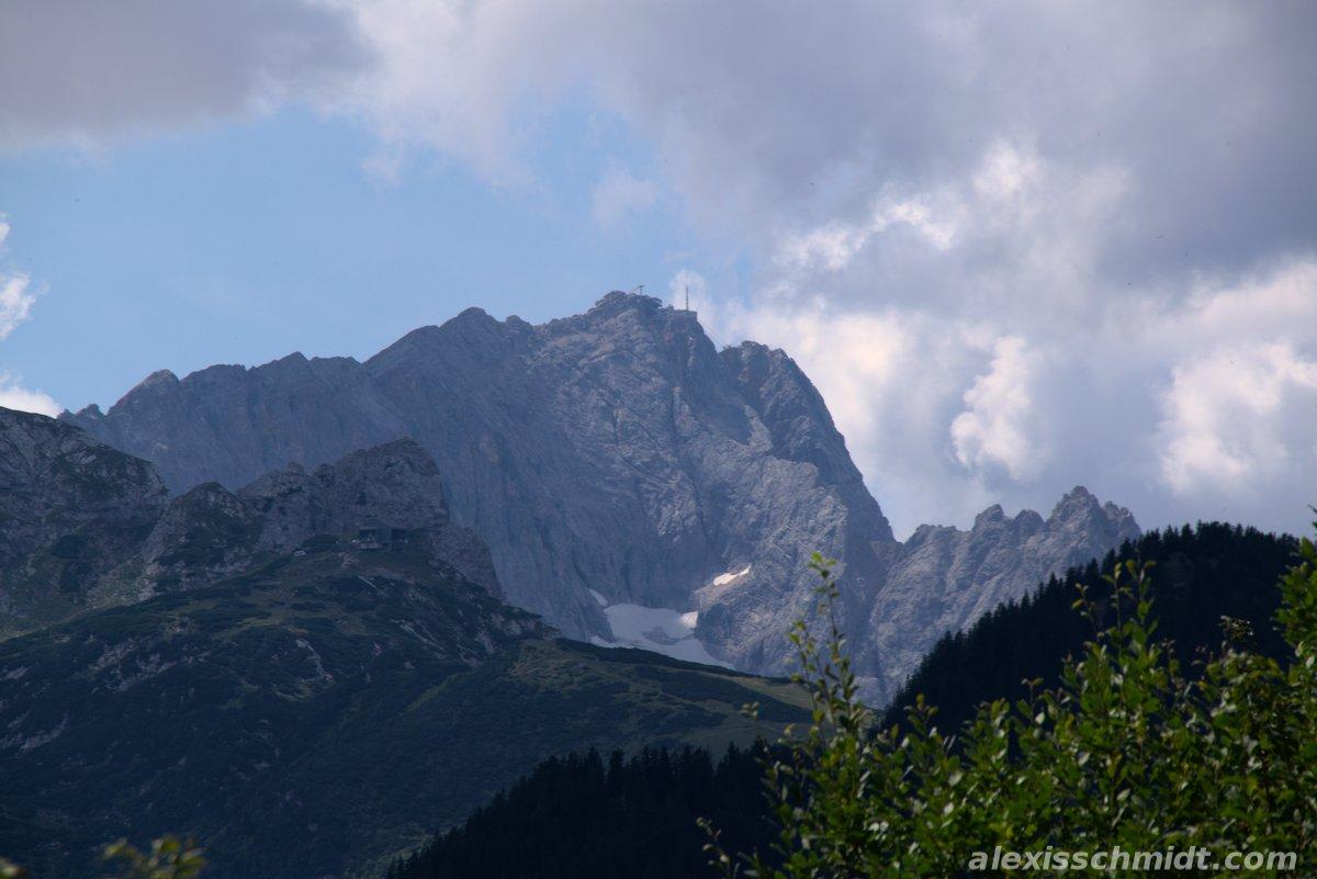 View from Berggasthof Eckbauer to Zugspitze and Glacier, Garmisch-Partenkirchen, Germany