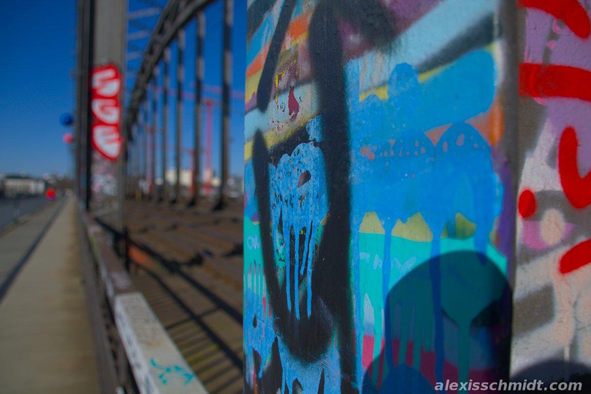 Graffitis on Deutschherrnbrücke in Frankfurt, Germany