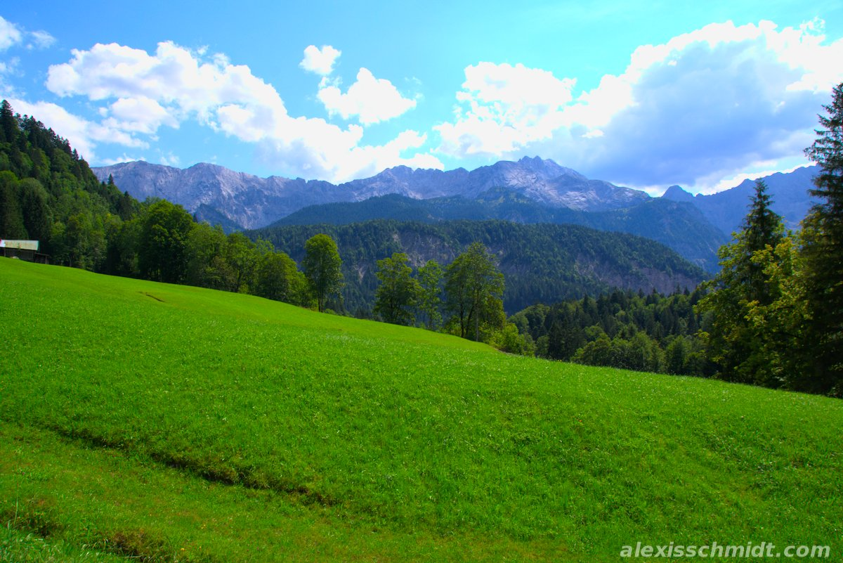 Green Meadow in the German Alps near Garmisch-Partenkirchen, Germany