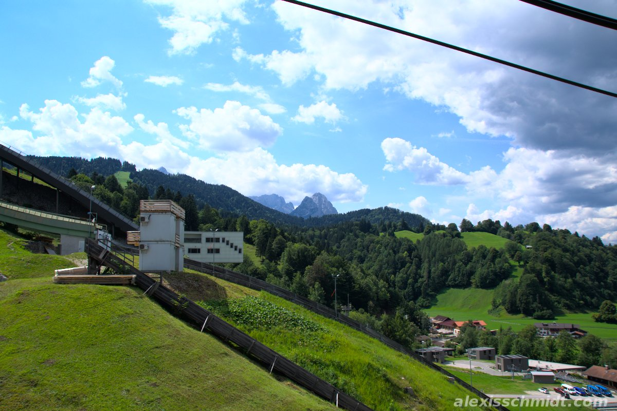 View from the Graseckbahn cable car in Garmisch Partenkirchen, Germany