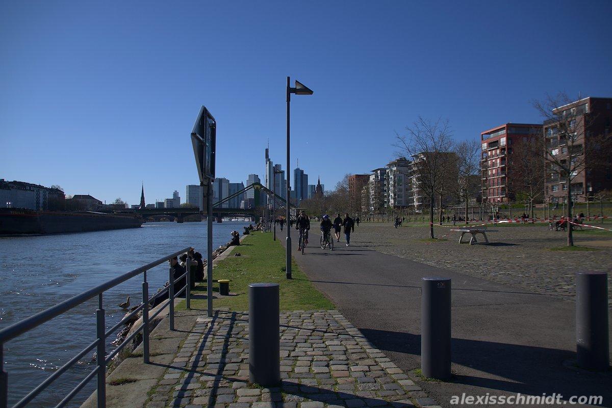 Main River, Sidewalk and Skyline in Frankfurt, Germany