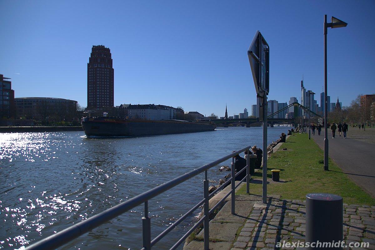 Vigilia River Ship and Skyline in Frankfurt, Germany