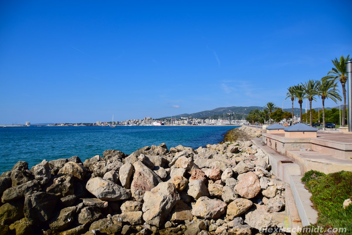 Port of Palma de Mallorca in the far Distance, Spain