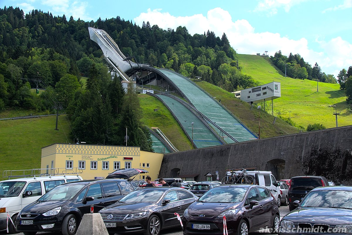 Ski Jump from Parking Lot in Garmisch-Partenkirchen, Germany