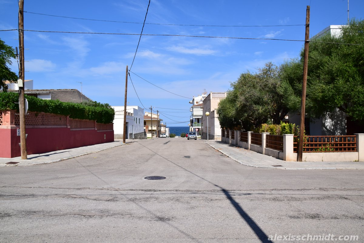 Street with Sea View in Can Picafort, Mallorca, Spain