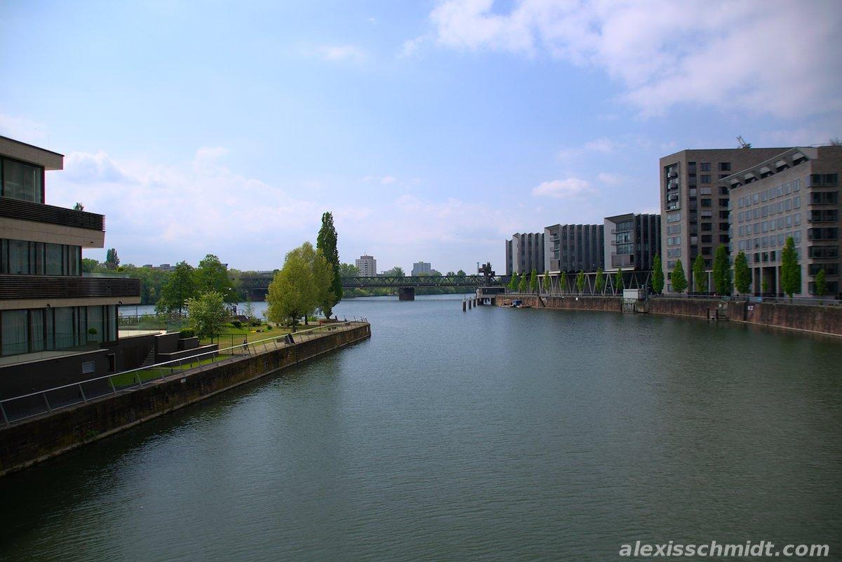 Westhafen and Main in Frankfurt, Germany