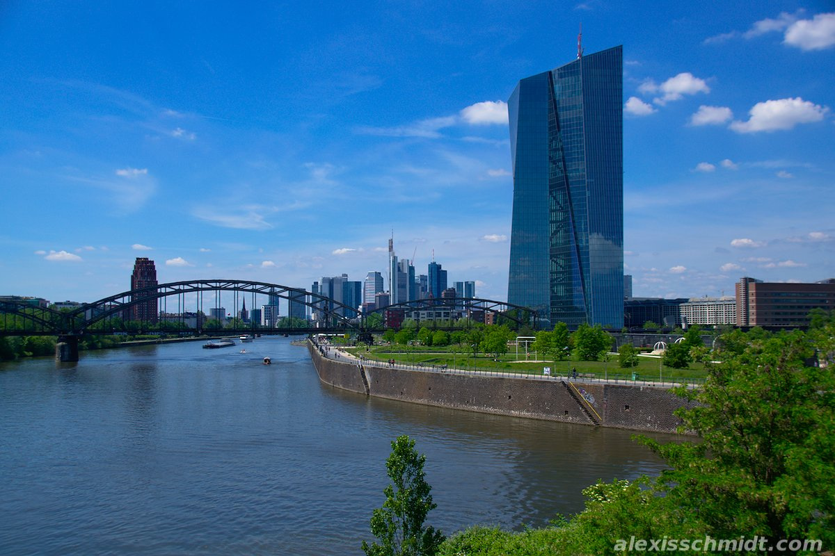 European Central Bank, Main River and Skyline Frankfurt, Germany