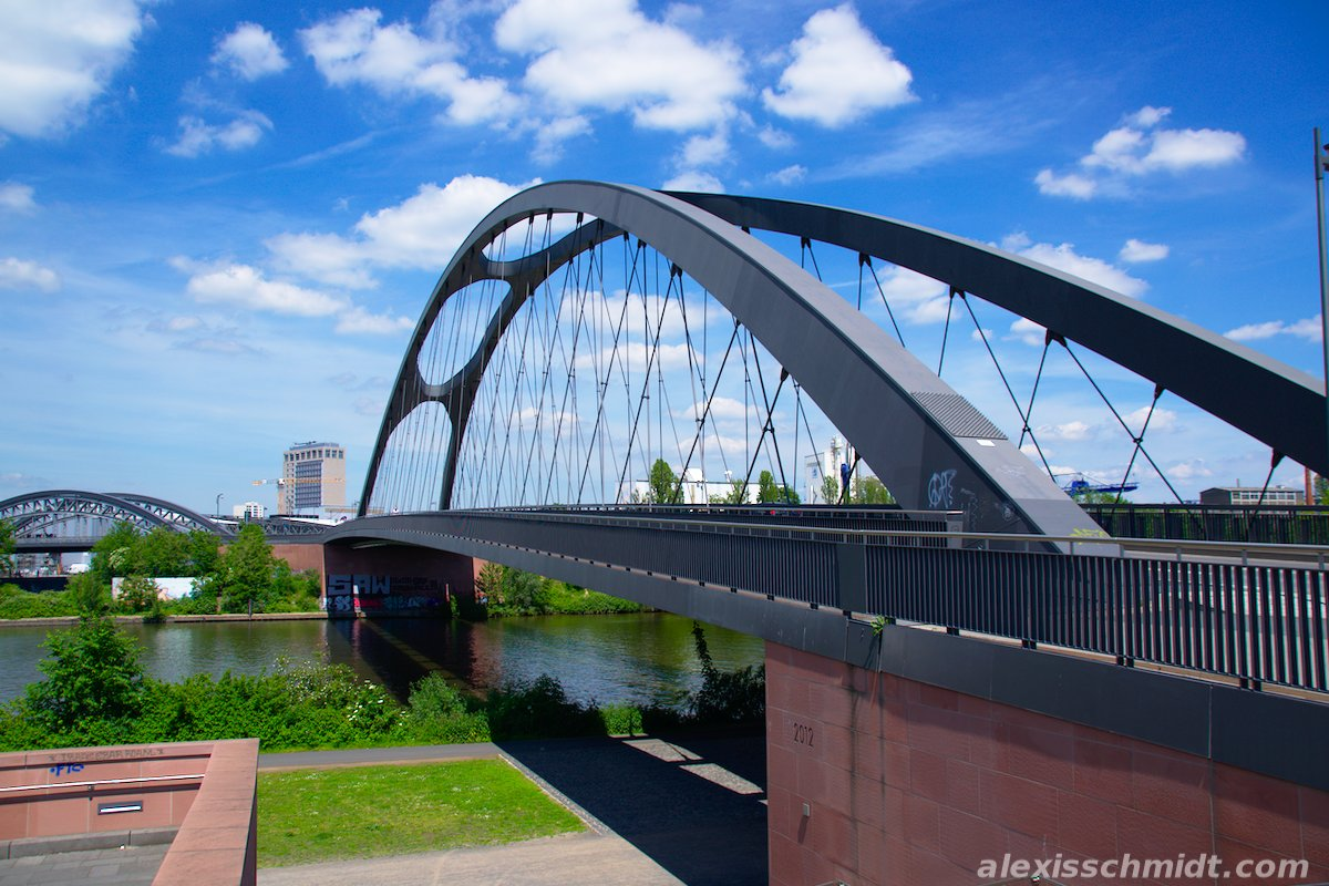 Osthafen Bridge in Frankfurt, Germany