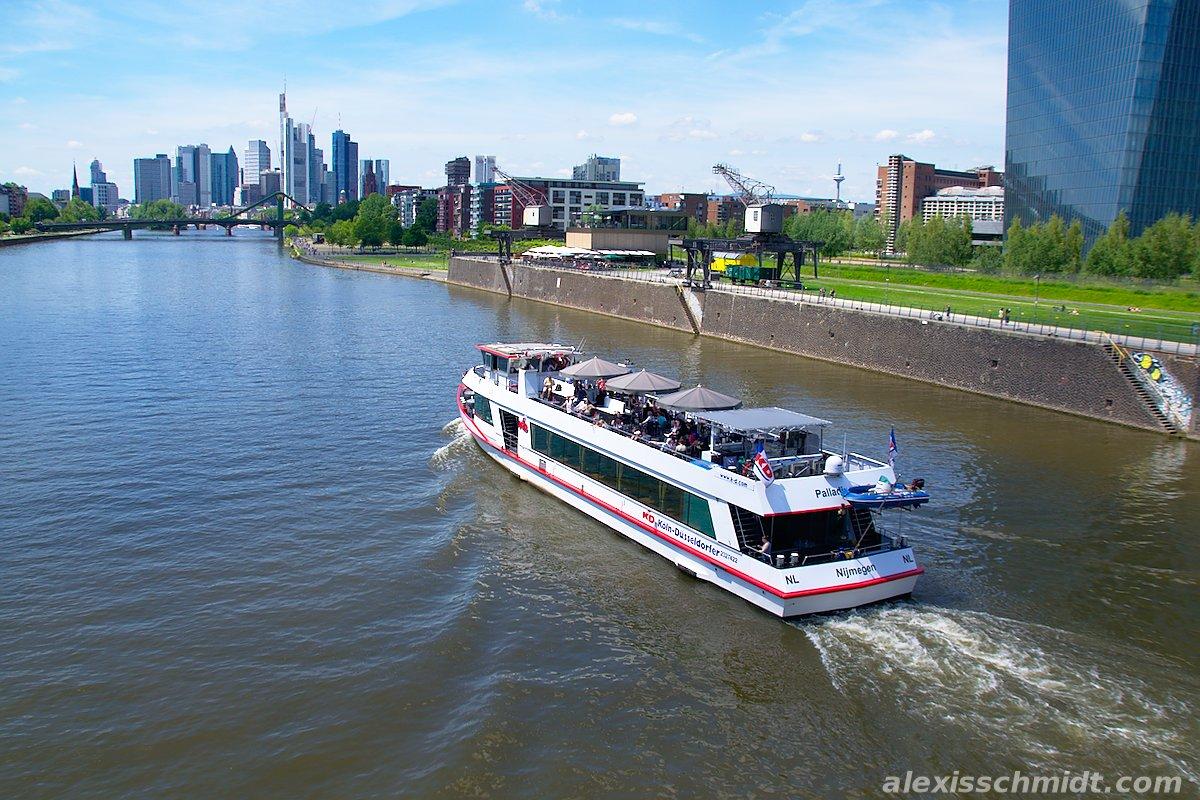 Skyline Frankfurt, Main River and Cruise Ship
