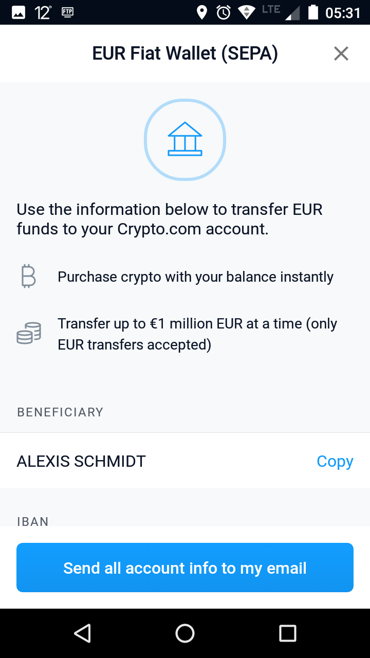 IBAN, Beneficiary crypto.com