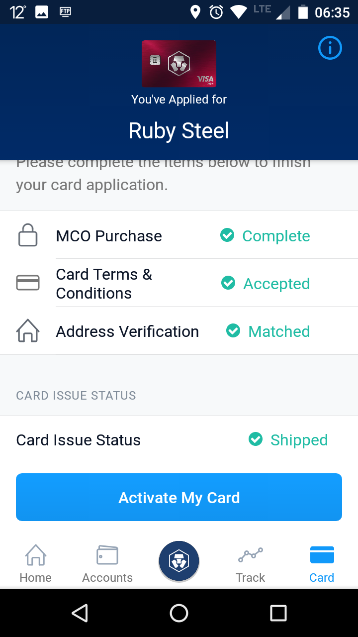 My red Ruby Steel crypto.com Visa card is on its way