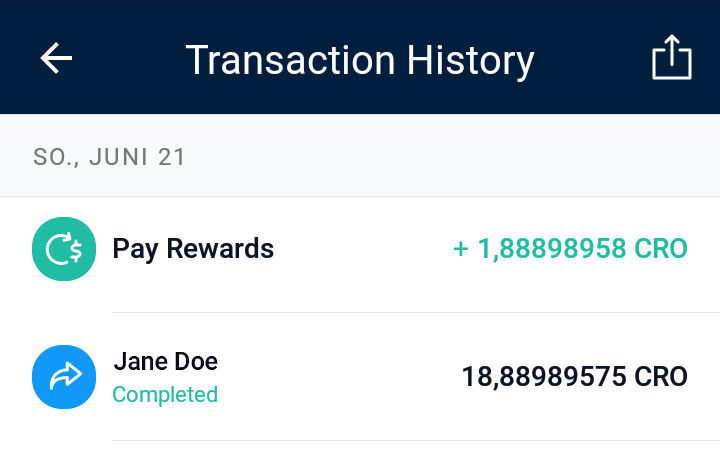 Account transactions at Crypto.com