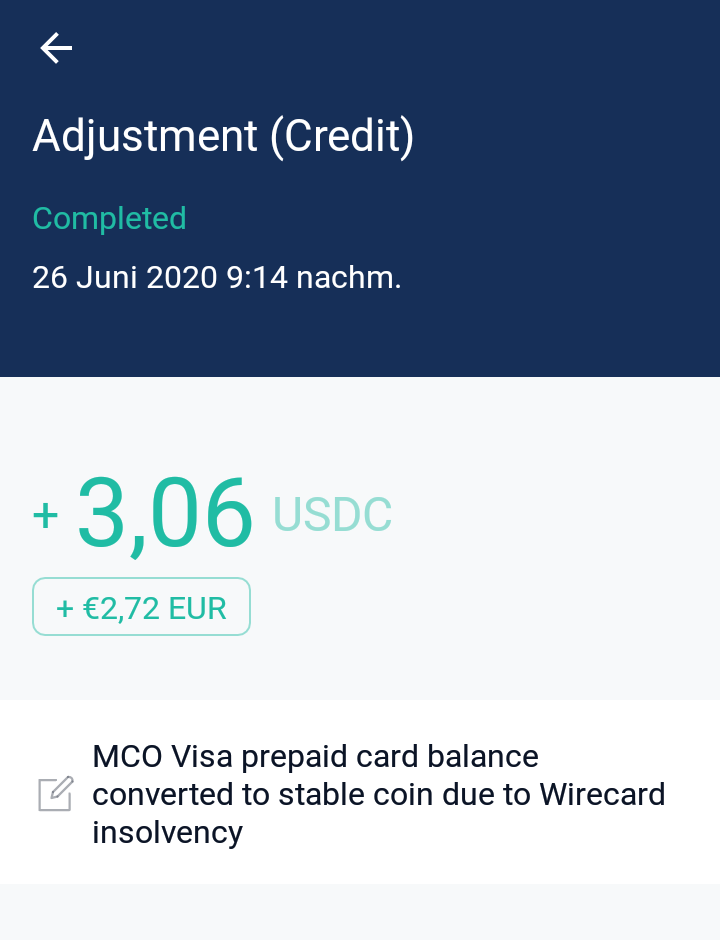 Balance on MCO Visa card has been exchanged for USDC stable coin