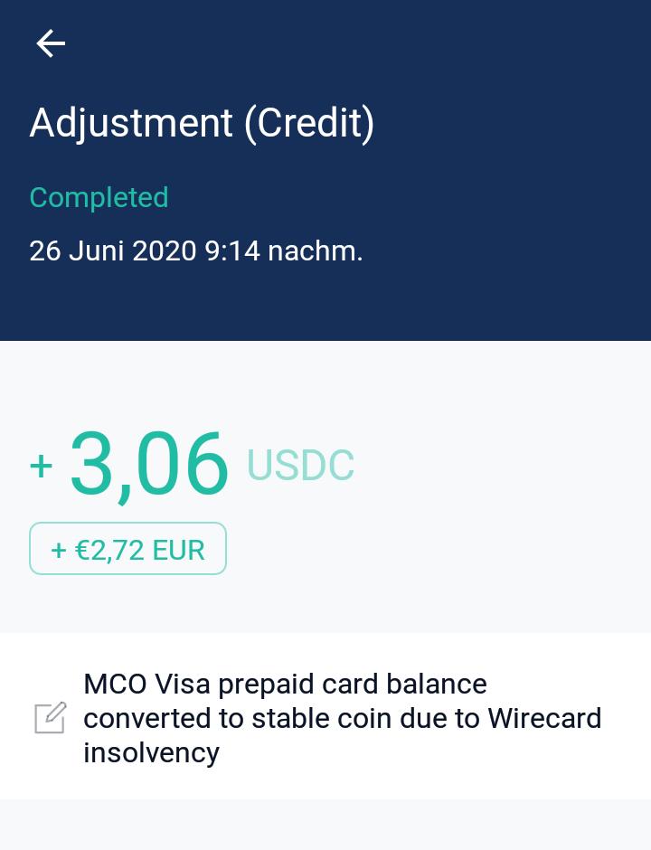 Guthaben der MCO Visa Karte wurde in USDC Stable Coin getauscht