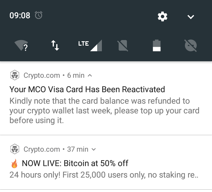 MCO Visa card has been reactivated