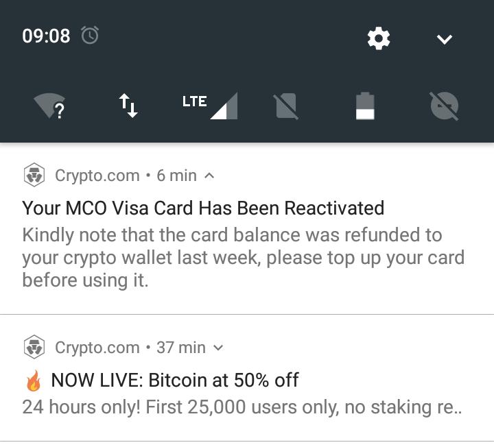 MCO Visa Karte wurde reaktiviert