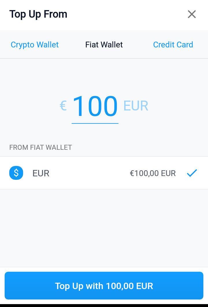 MCO Visa Karte mit Fiat Geld aufladen