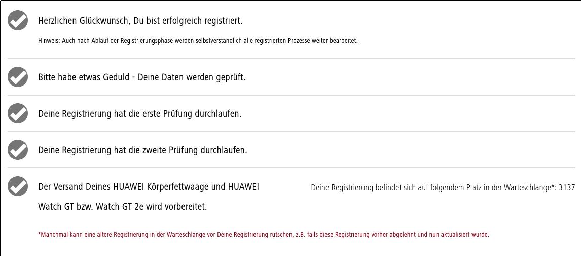Huawei Watch GT, Waage, Order Status