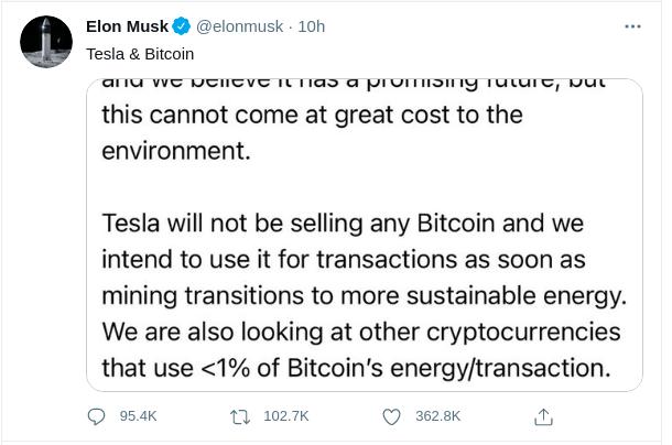 Elon Musk postet dass Tesla keine Bitcoins mehr akzeptiert