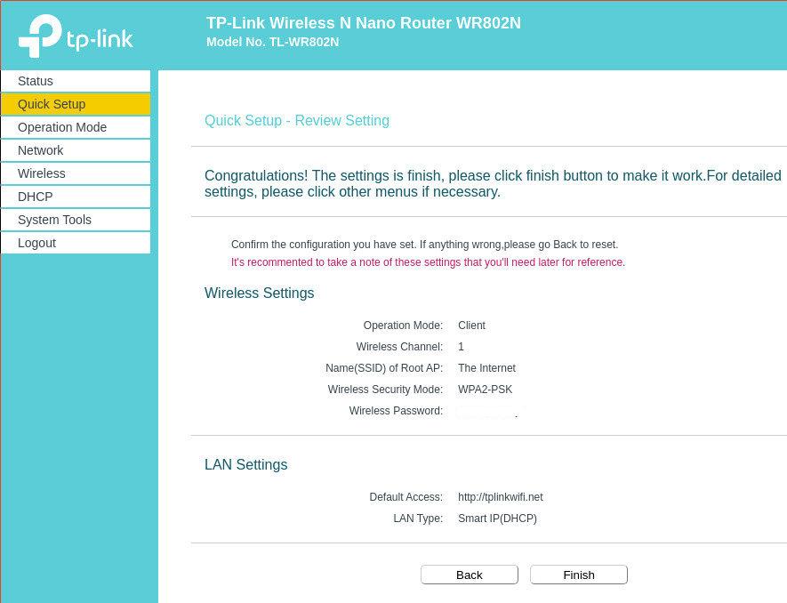 Eingaben überprüfen TL-WR802N Router