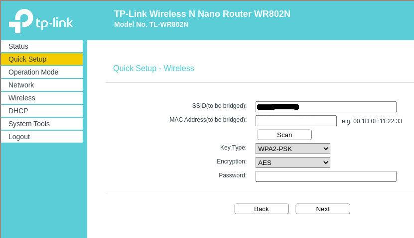 SSID und Passwort TL-WR802N Router