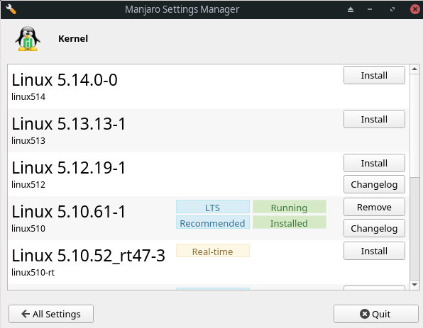 Installed and Active Linux Kernel