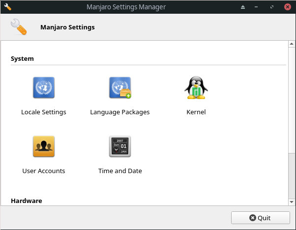 Manjaro Settings Manager