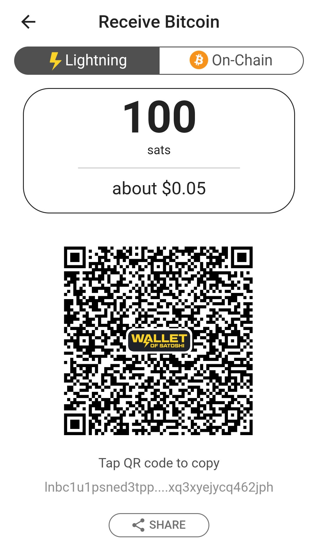 Receive Bitcoin from a Wallet of Satoshi Wallet