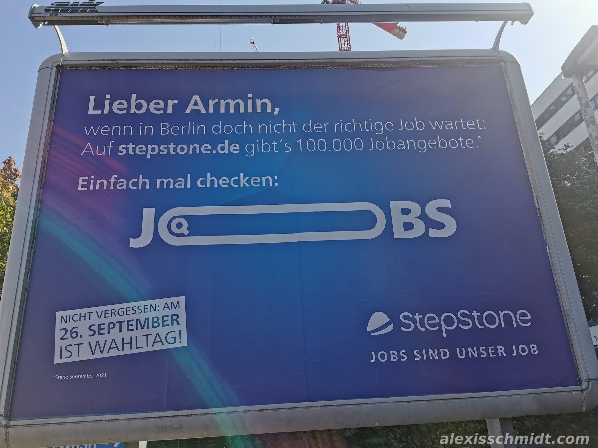Stepstone Plakat Job für Armin Laschet